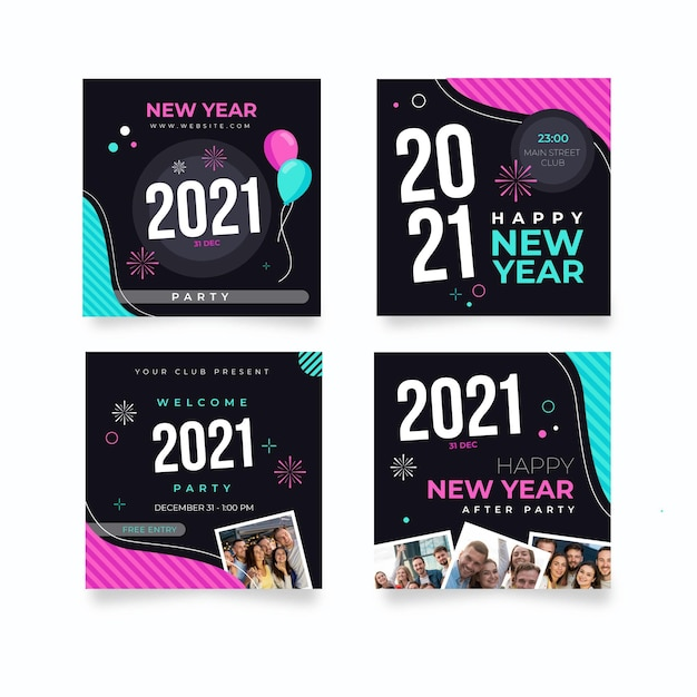 Collection of new year social media posts Free Vector