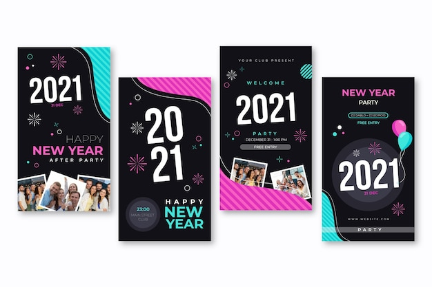Collection of new year social media stories Free Vector