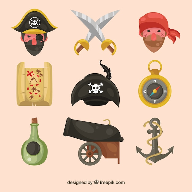Collection of nice pirates and other items Free Vector