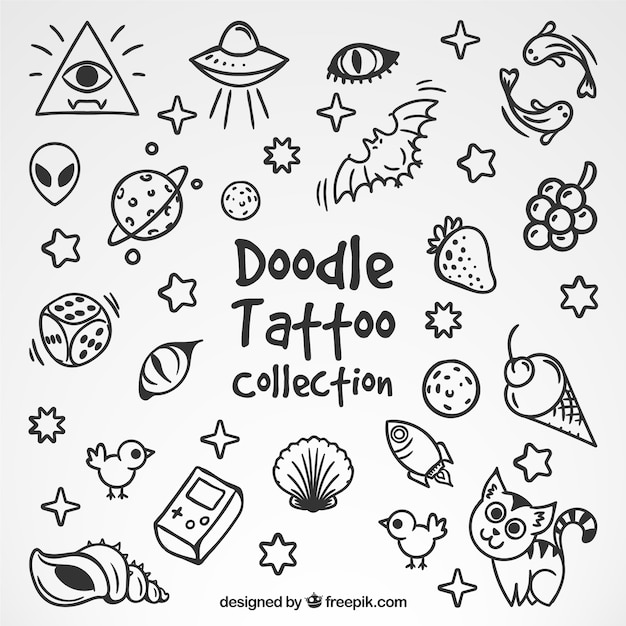 Collection of nice sketches tattoos Free Vector