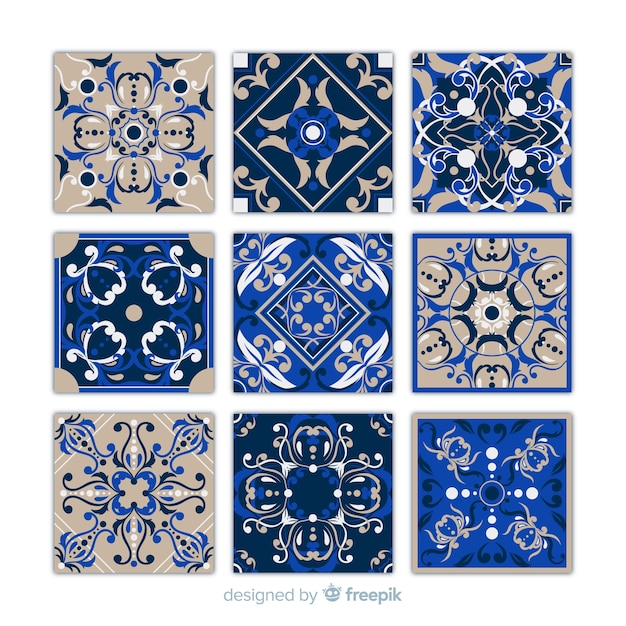 Collection of nine blue tiles Free Vector
