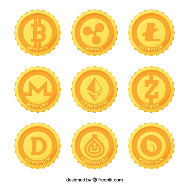 Collection of nine cryptocurrency coins Free Vector