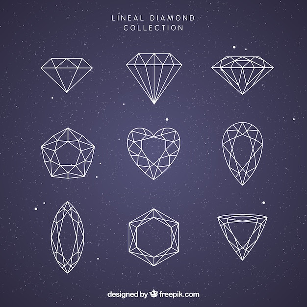 Collection of nine lineal precious stones Free Vector