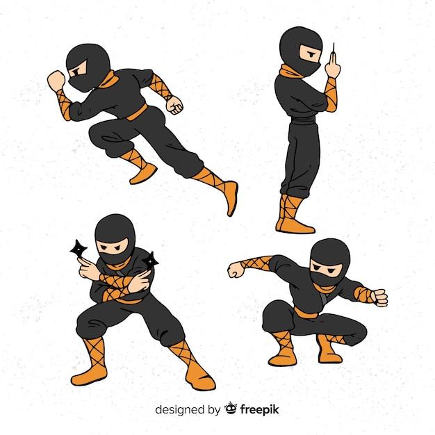 Collezione di personaggi ninja Vettore gratuito