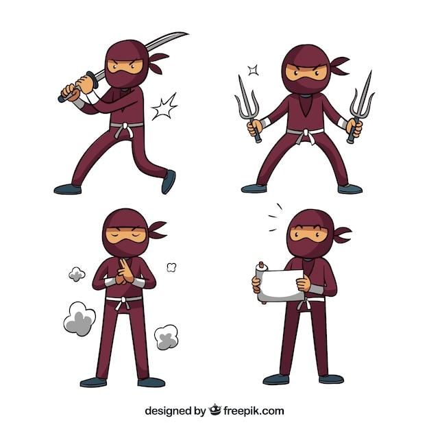 Collezione di guerrieri ninja in diversi posses Vettore gratuito