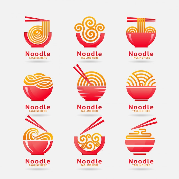 Collection of noodle logo Premium Vector