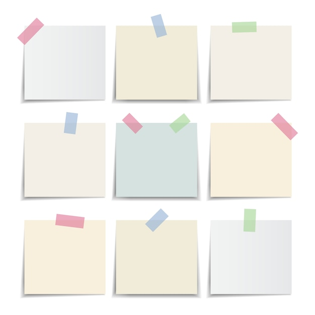 Collection of note paper, sticky note pastel colors. illustration Premium Vector