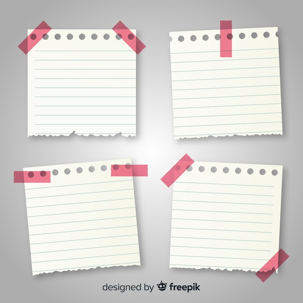Collection of notes in realistic style Free Vector