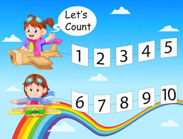 The collection of the number 1 until 10 on the paper with children on the card box plane Premium Vector