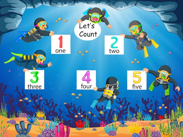 The collection of the number 1 until 5 with the diver under the ocean Premium Vector