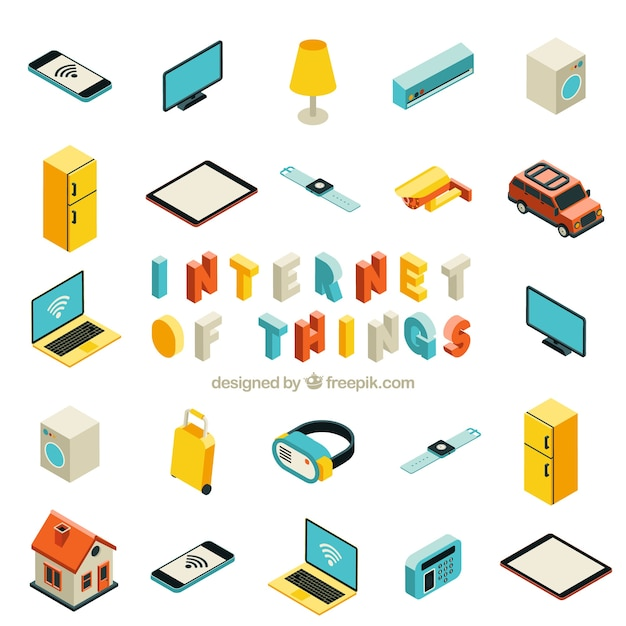 Collection of objects with internet isometric Premium Vector