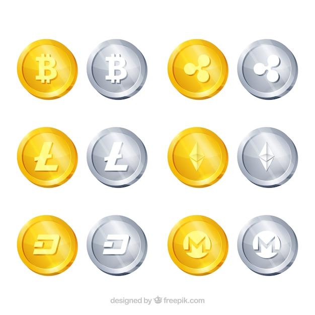 Коллекция 12 криптовалютных монет Бесплатные векторы