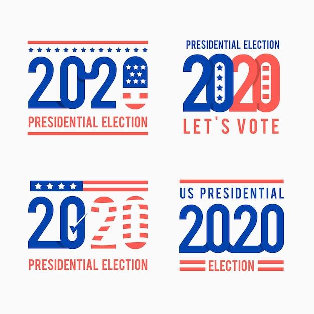 Коллекция логотипов президентских выборов 2020 года в сша Premium векторы