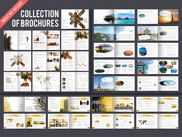Collection of 3 multiple pages brochures with cover page design.  Premium Vector