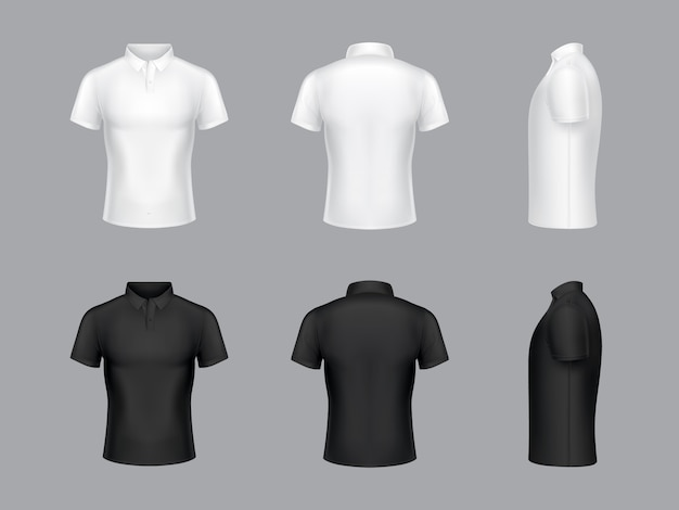 collection of 3d realistic white and black polo t-shirts. Short sleeves, fashion design.  Free Vector