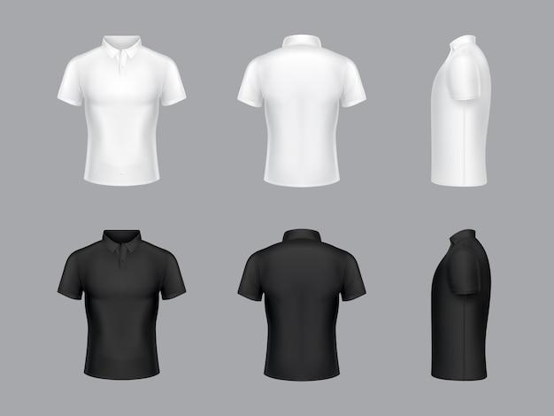 3dの現実的な白と黒のポロのtシャツのコレクション。半袖、ファッションデザイン。 無料ベクター