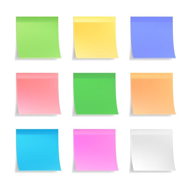 3dベクトル付箋のコレクション Premiumベクター