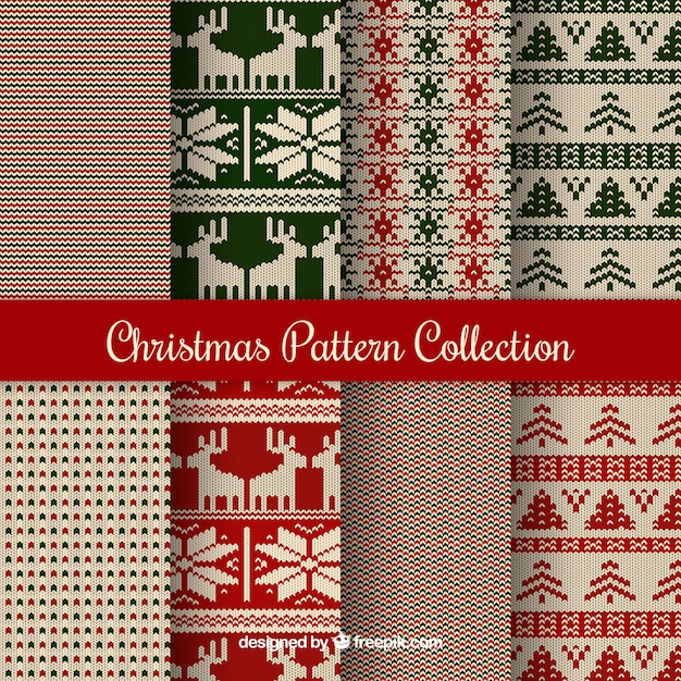 Collection of 8 knitted christmas patterns Free Vector