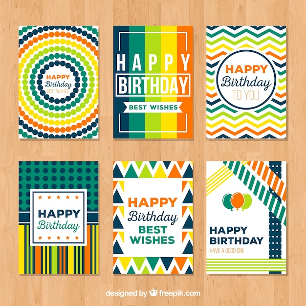 Collection of abstract colorful card for happy birthday Free Vector
