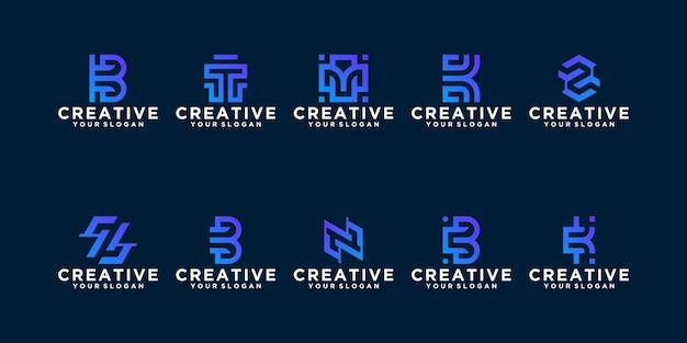 Коллекция абстрактного шаблона логотипа вензеля. плоский минималистский модерн для бизнеса Premium векторы