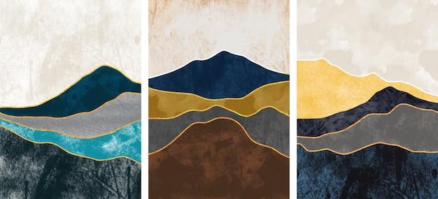 Коллекция абстрактных горных пейзажей Premium векторы