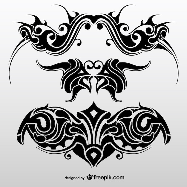 Collection Of Abstract Tribal Tattoos Vector