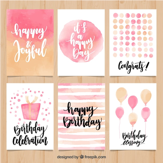 Collection of abstract watercolor birthday card