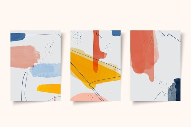 抽象的な水彩画カバーのコレクション Premiumベクター