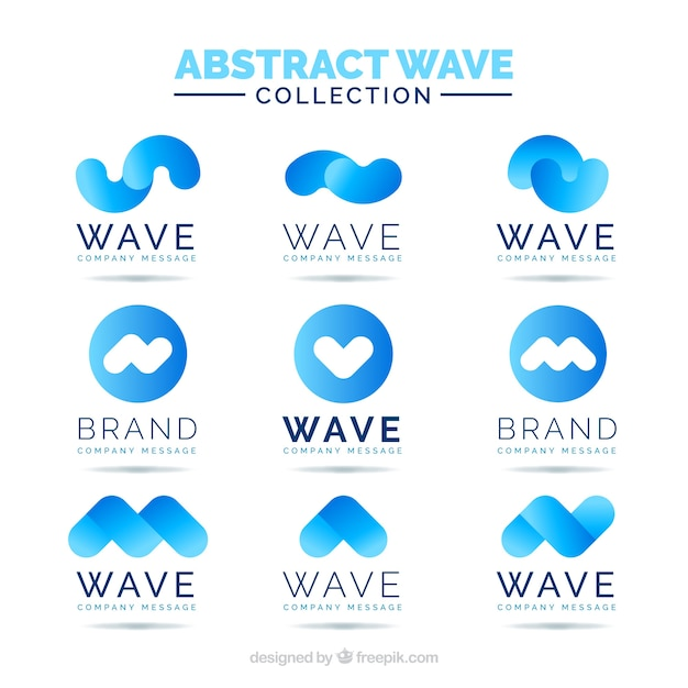 collection of abstract wave logos in blue tones vector free download