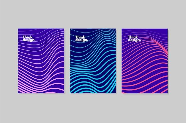 抽象的な波状カバーのコレクション 無料ベクター