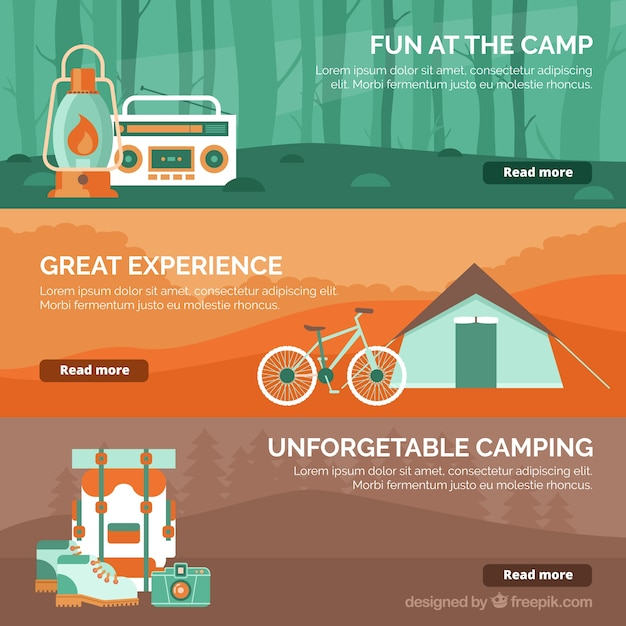 Collection of adventure banners with orange\ details