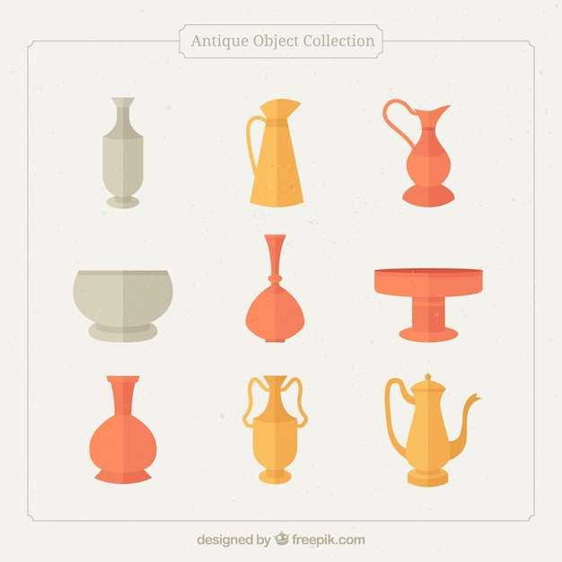 Collection Of Ancient Vases In Flat Design Vector Free Download