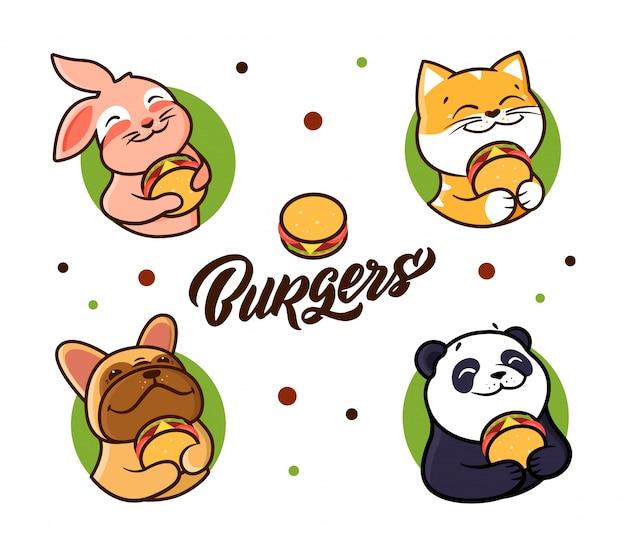 ハンバーガーを食べる動物のコレクション。組成 Premiumベクター
