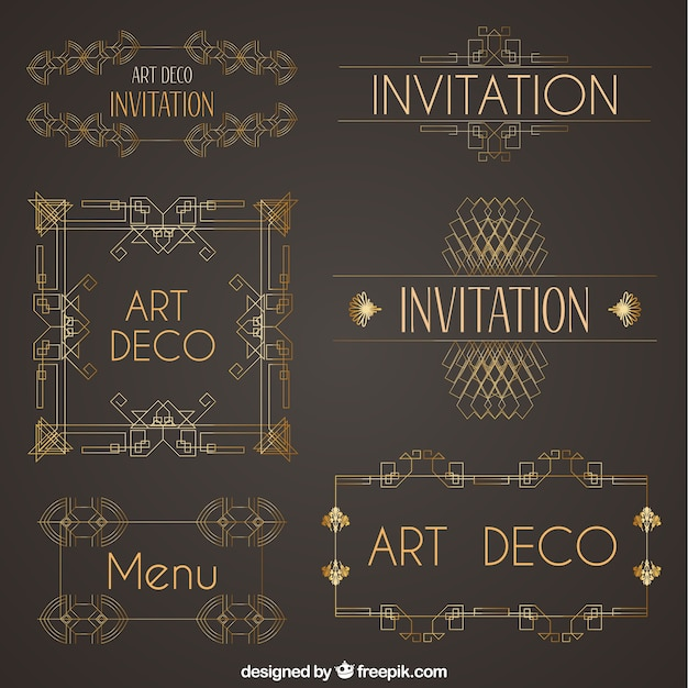 Collection of art deco ornaments vector free download collection of art deco ornaments free vector stopboris Choice Image