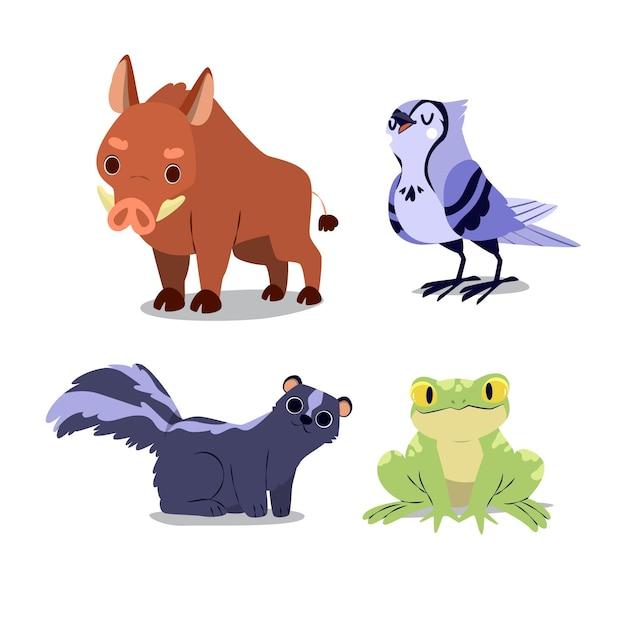 Коллекция осенних лесных животных Бесплатные векторы