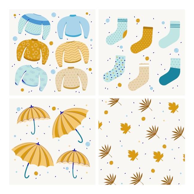 Коллекция осень современного фона. свитер, зонт, носки и листья. плоские векторные иллюстрации Premium векторы