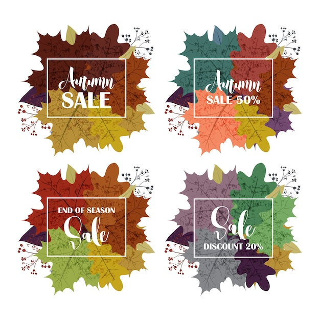 Collection Of Autumn Sale And Other Typography Flyer Template With