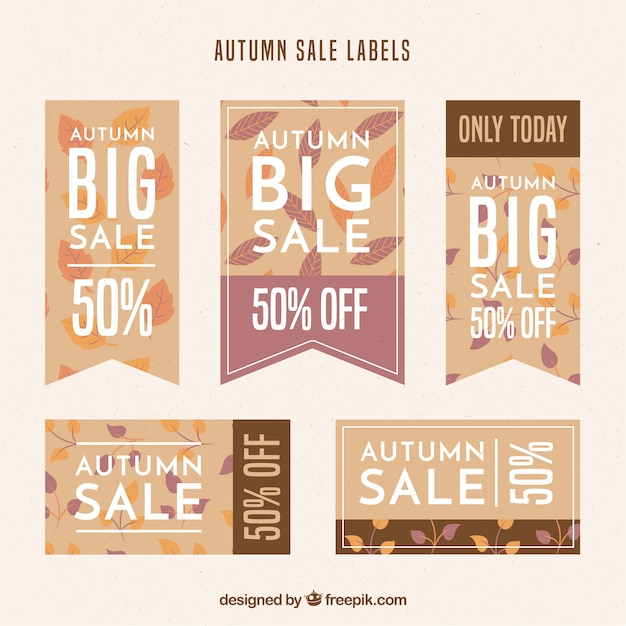 Collection of autumn sale stickers in flat design