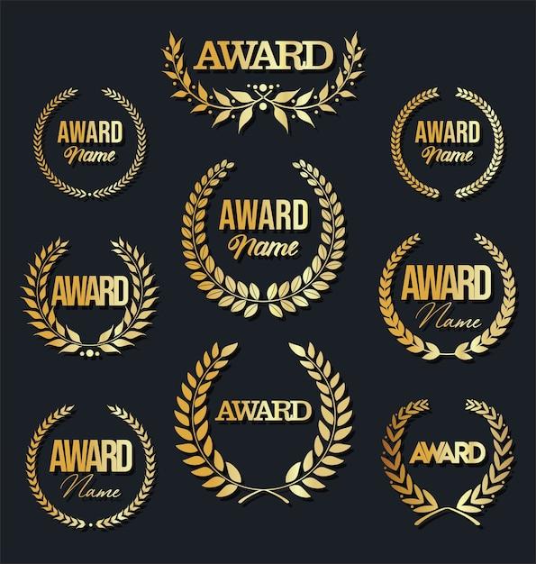 Собрание знака награды с лавровым венком на черной предпосылке. Premium векторы
