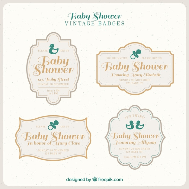 Collection of baby badges in vintage style