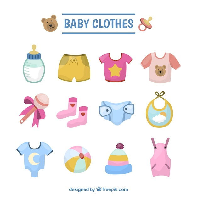 Collection of baby clothes illustration