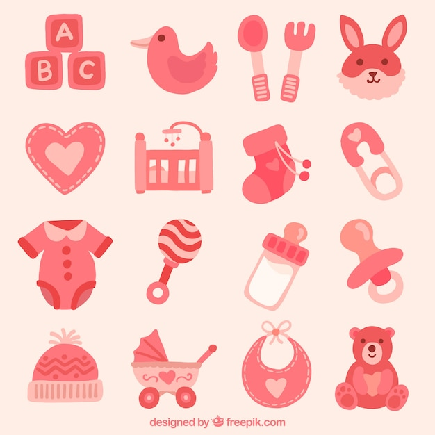 Collection of baby items Vector | Free Download