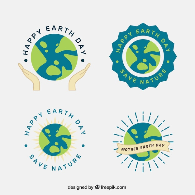 Collection Of Badges For Mother Earth Day Vector Free Download