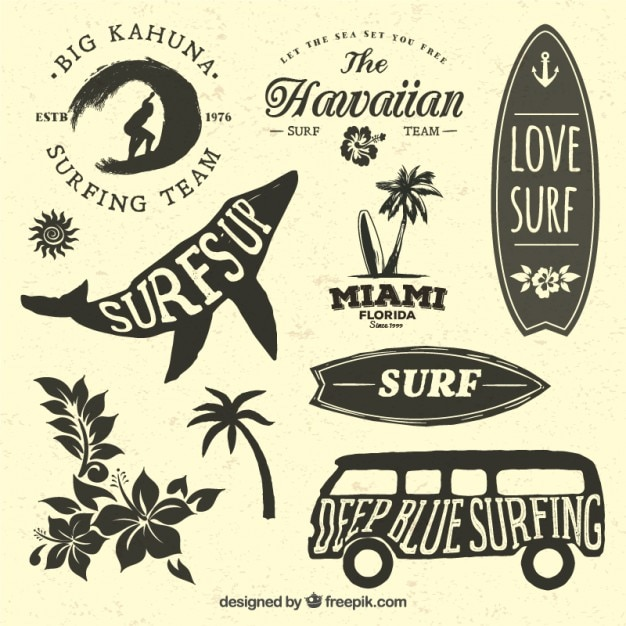Collection of badges for surfers Free Vector