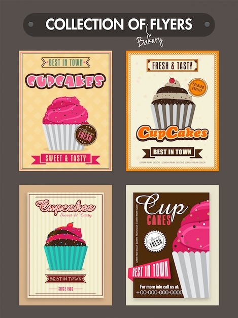 Collection Of Bakery Flyers Templates Or Menu Cards Design With