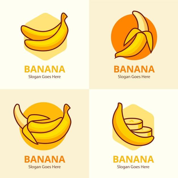 バナナのロゴテンプレートのコレクション 無料ベクター