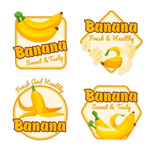 図解バナナのロゴのコレクション 無料ベクター