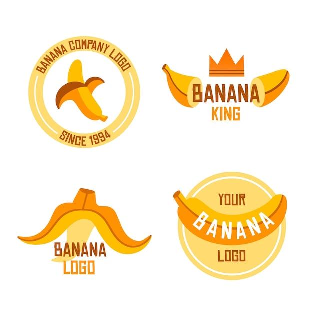 Коллекция логотипов бананов Бесплатные векторы