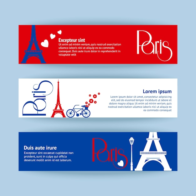 Collection of banners and ribbons with Paris\ landmark buildings isolated vector illustration