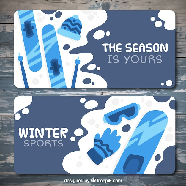 Collection of banners with different winter\ sports items